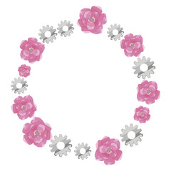 wreath round border of pink watercolor roses and gray metallic shiny gears isolated on white background vector