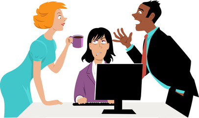 Annoyed businesswoman trying to concentrate on work while her two co-workers talking over her head, EPS 8 vector illustration