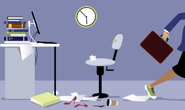 Business woman leaving his office early, EPS 8 vector illustration