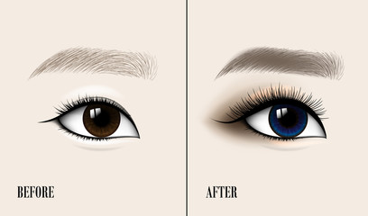 Beautiful Asian Woman Eye and Brow. Before and after make-up. Vector illustration.