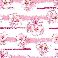 Vector seamless pattern with outline blooming Apricot flower bunch and horizontal pink stripes the white background. Blossom of pastel Apricot flowers in contour style for elegance spring design.