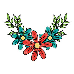 Beautiful flowers cartoon vector illustration graphic design