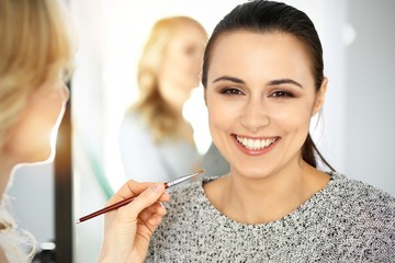 Professional makeup artist working with beautiful young woman. Bridal, fashion or nude style