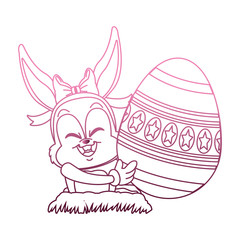 Cute rabbit with easter egg cartoon on purple lines vector illustration