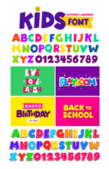 Kids font in the cartoon style, alphabet and numbers. Set of multicolored bright letters for inscriptions and your design. Vector illustration. Isolated on white background