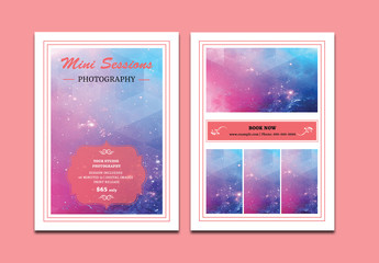 Photography Business Postercard Layout with Pink Accents