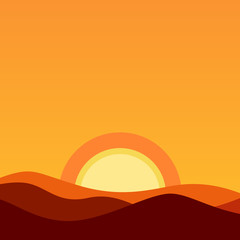 Cartoon Desert Landscape at Sunset. Vector Background illustration in orange colors of evening sun and horizon.