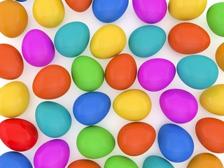 Colorful easter eggs background. 3D rendering.