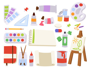 Painting art tools palette vector illustration details stationery creative paint equipment creativity artist instrument.