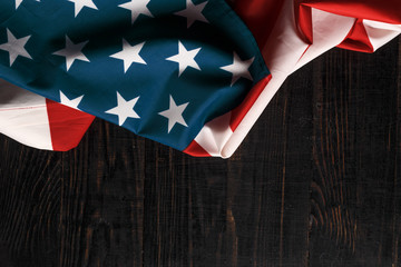 American flag on a antique wooden platform.