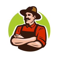 Farm, agriculture logo or label. Happy farmer, grower cartoon. Vector illustration