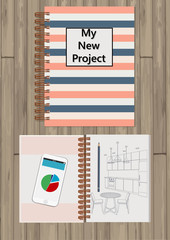 Realistic opened notebook. Template mock up of organizer or diary isolated. Horizontal lined notebook. Illustration of notebook with painted kitchen, pencil, telephone.