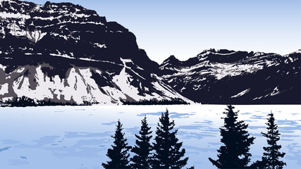 Vector Landscape With Lake, Mountains And Trees