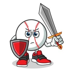 baseball warior holding sword and shield mascot vector cartoon illustration