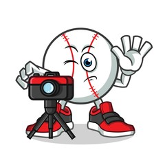 baseball photographer taking pictures mascot vector cartoon illustration