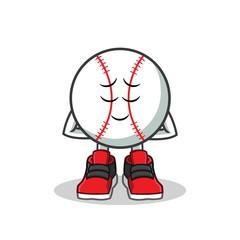 baseball smiling with close eyes mascot vector cartoon illustration