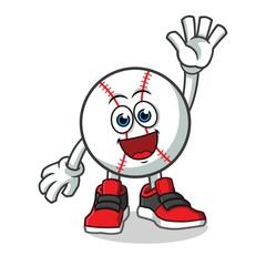 baseball waving mascot vector cartoon illustration
