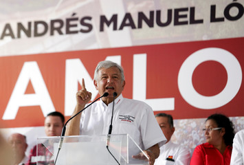 Leftist front-runner Andres Manuel Lopez Obrador of MORENA addresses supporters during a campaign rally in Rio Bravo