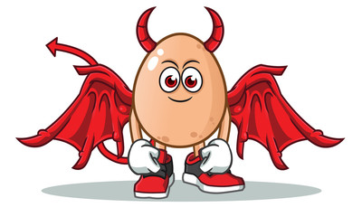egg devil mascot vector cartoon illustration