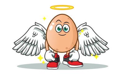 egg angel mascot vector cartoon illustration