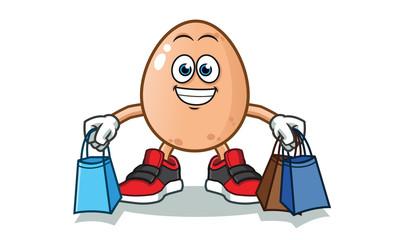 egg shopping vector cartoon illustration