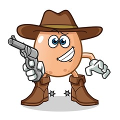 egg cowboy holding gun mascot vector cartoon illustration