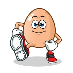 egg walking mascot vector cartoon illustration