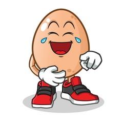 egg laughing loudly mascot vector cartoon illustration