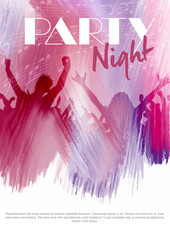 Party flier background with silhouette of an audience on a watercolour texture