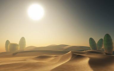 3D desert scene with cacti