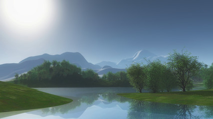 3D landscape with trees against lake side