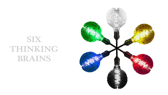 Six Brain Incandescent Lightbulbs in Different Colors.  The Symbol of Learning, Education, Invention, Idea or Creativity, Isolated or Die Cut on White Background with Clipping Path or Selection Path.