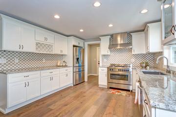 Gorgeous white kitchen with Moroccan Tiles Backsplash