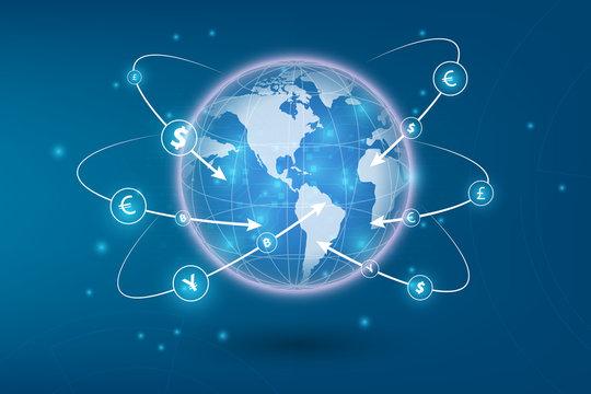 International currency money transfers. Stock vector illustration