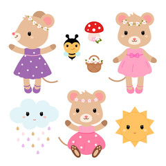 Cute mouses and design elements. Vector flat illustration.