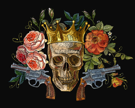 Embroidery golden crown, guns, skull and red roses. Dia de muertos, day of the death art. Gothic romanntic embroidery human skulls, revolvers, crown and red roses and pink peonies.