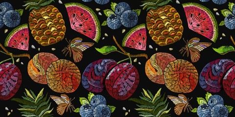 Embroidery fruit seamless pattern. Template for clothes, textiles, t-shirt design. Classic embroidery watermelon, pineapple, plums, berries, butterflies, summer seamless pattern