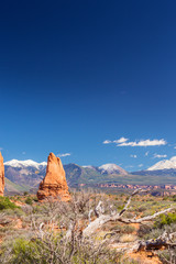 Foto op Aluminium Beautiful autumn scenery in the Arches National Park, Utah, on a claer day with blue sky