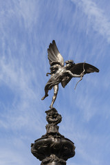 Shaftesbury Memorial Fountain, statue of a mythological figure Anteros, Piccadilly Circus, London, United Kingdom