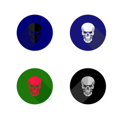 Round skull icon.Collection icons, flat style, on white background,