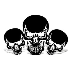 Three black skulls, silhouette with shadow, on white background,