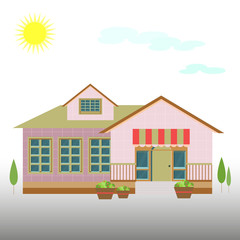 House-building, (school) flat style on a natural clean background with trees,