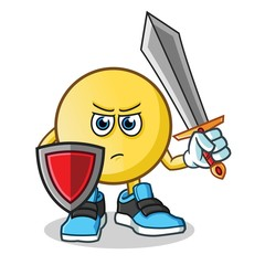 emoticon warior holding sword and shield mascot vector cartoon illustration