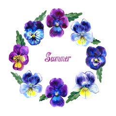 Round frame pansies watercolor with summer lettering on white background