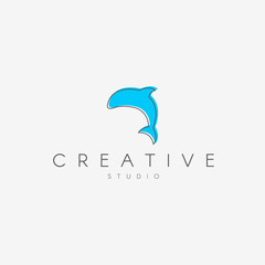 Dolphin logo. Linear logo, in the form of a dolphin.