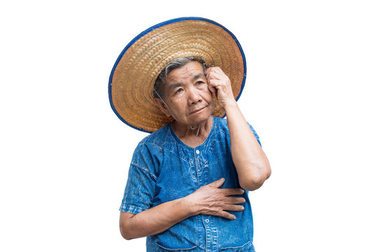 Anxiety old Asian woman farmer on a white background