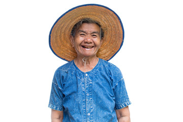 Happy old Asian woman farmer smiling on a white background