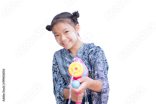 2a28df1a5 Cute girl playing water gun on white background, Songkran Festival in  Thailand and summer season
