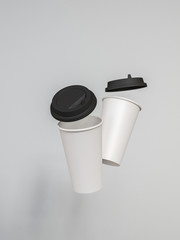 3d model of paper cups with a lid standing on a plane under natural light. White background. Rendering.