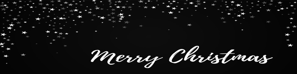 Merry Christmas greeting card. Random falling stars background. Random falling stars on black background.fair vector illustration.